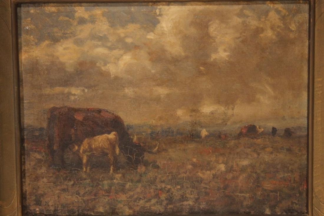 Oil Painting, Cows Grazing 19th Century - 2