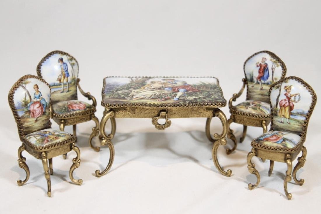 Miniature Enamelled Table & Chairs