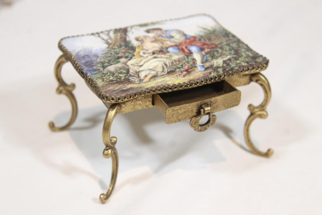 Miniature Enamelled Table & Chairs - 2