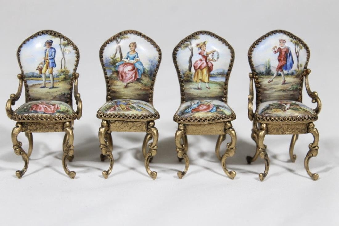 Miniature Enamelled Table & Chairs - 4