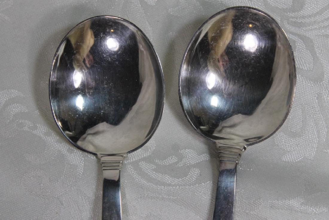 """Tiffany """"Hampton"""" Pattern Soup Spoons - 5"""