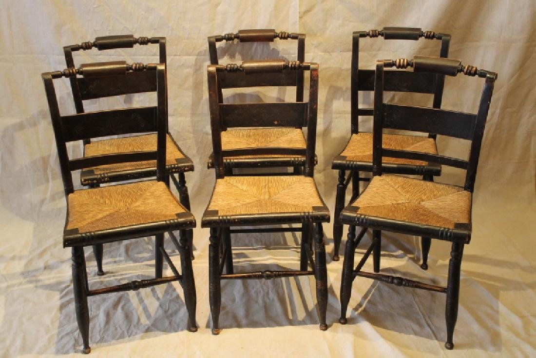 Set of Six Pillowback Hitchcock Chairs