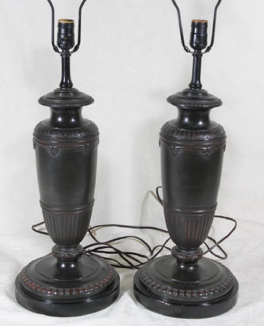 Pr Of Heavy Bronze Classical Lamps