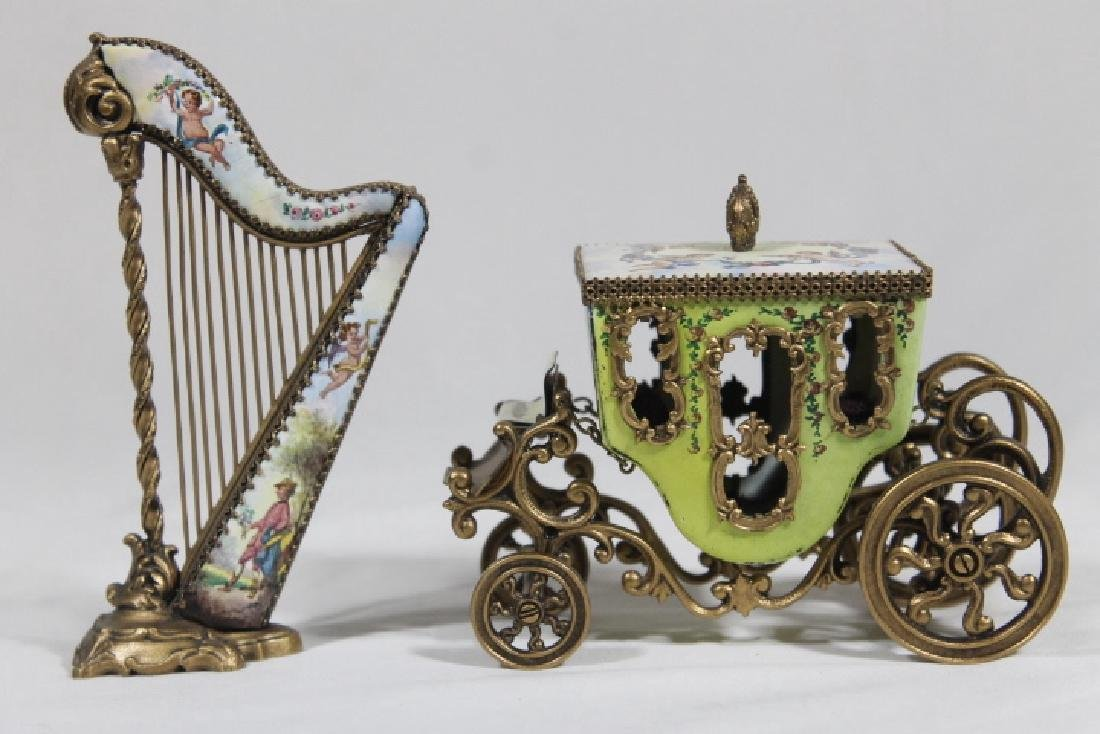 Austrian Enamelled Miniature Coach & Harp