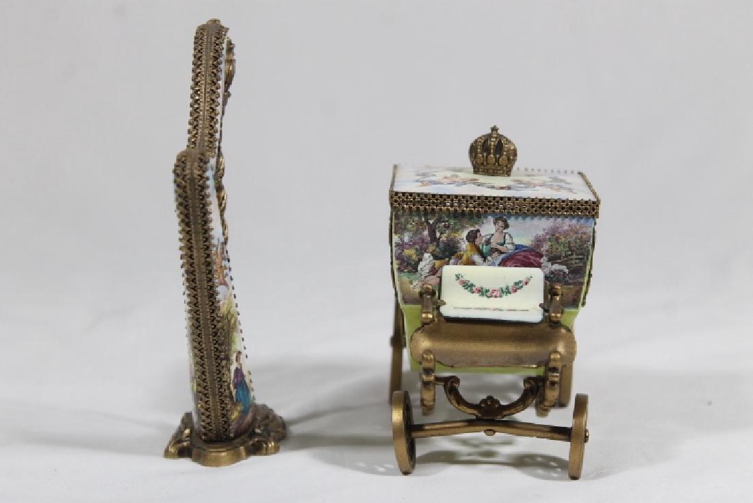 Austrian Enamelled Miniature Coach & Harp - 2