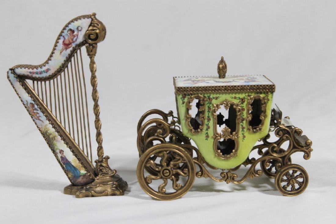 Austrian Enamelled Miniature Coach & Harp - 3