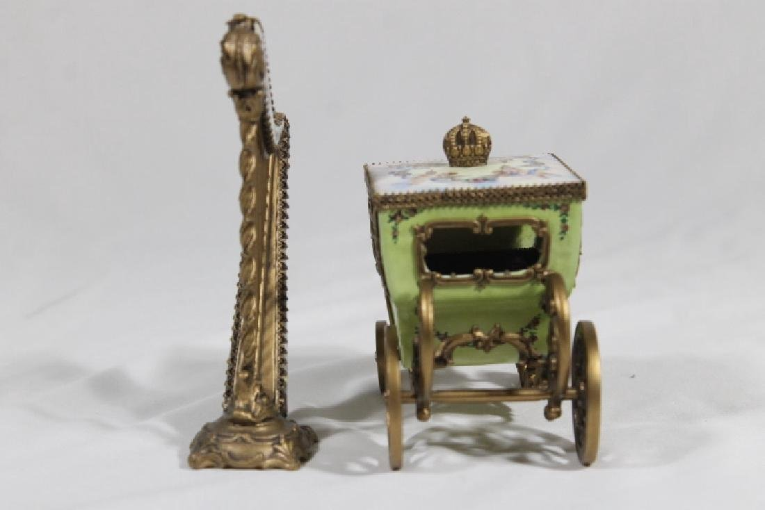 Austrian Enamelled Miniature Coach & Harp - 4