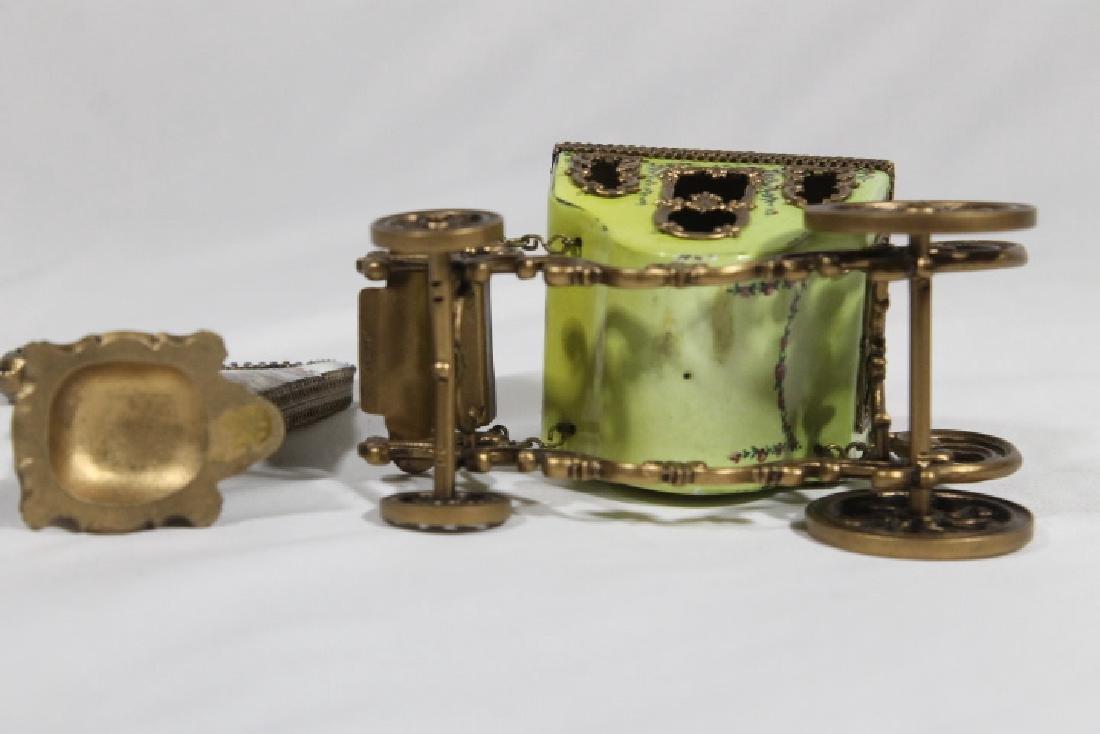 Austrian Enamelled Miniature Coach & Harp - 5