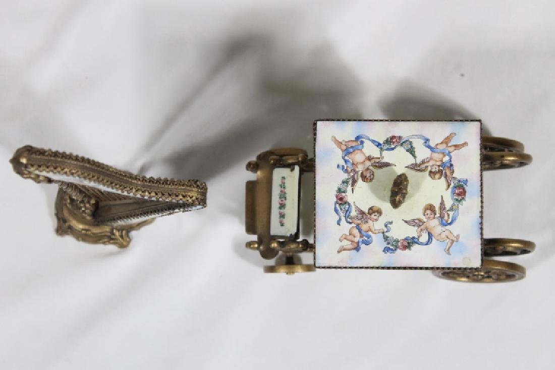 Austrian Enamelled Miniature Coach & Harp - 6