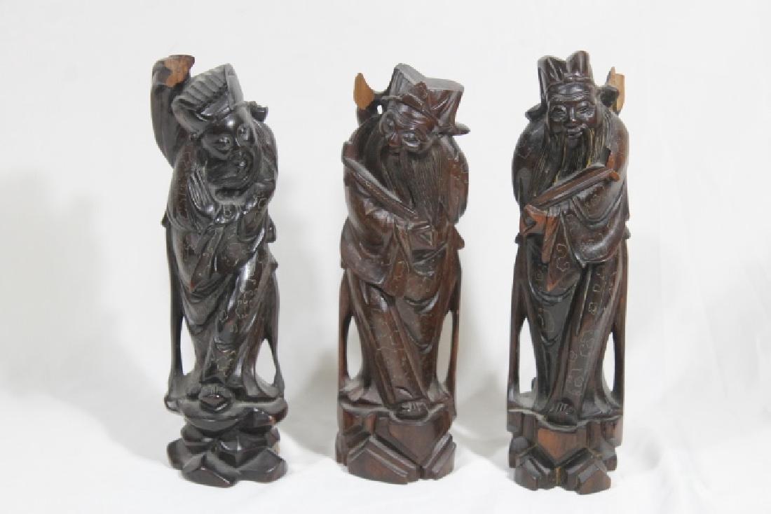 3 Asian Wood Statues