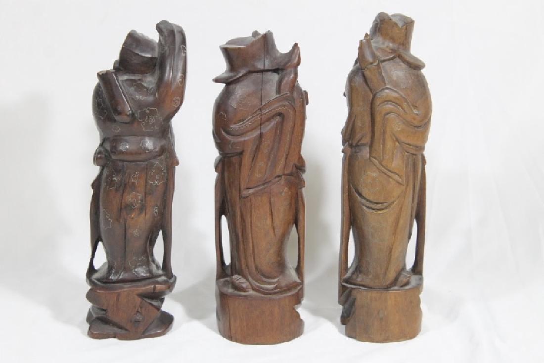 3 Asian Wood Statues - 2