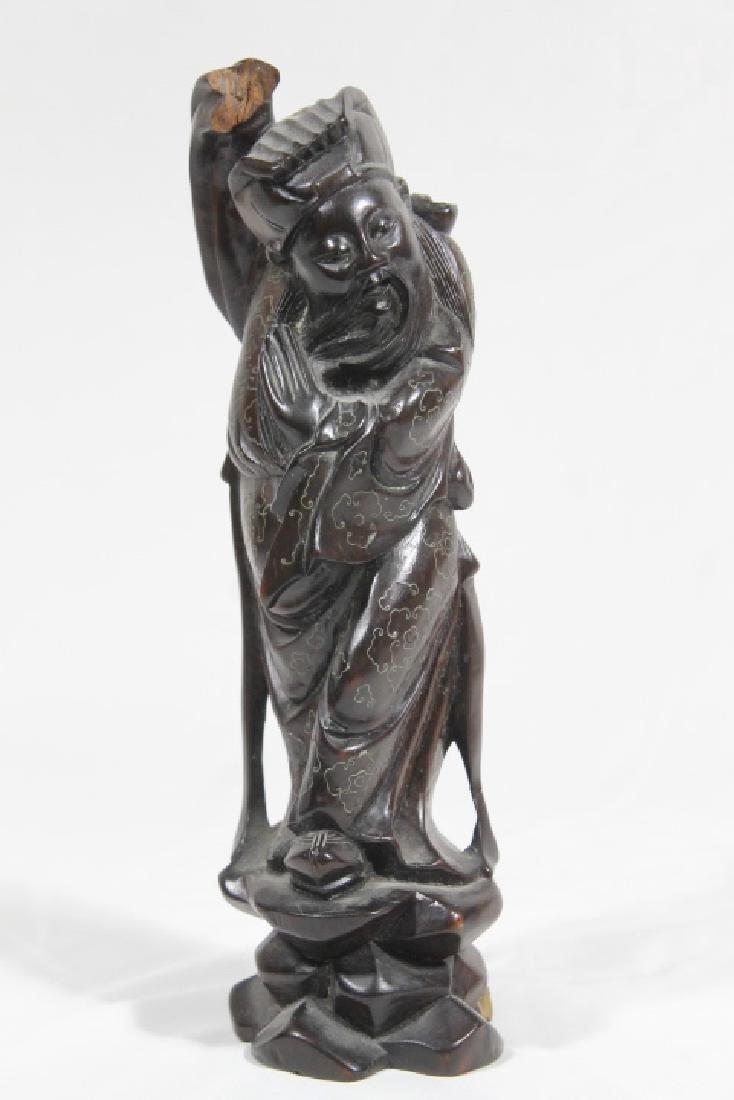 3 Asian Wood Statues - 3