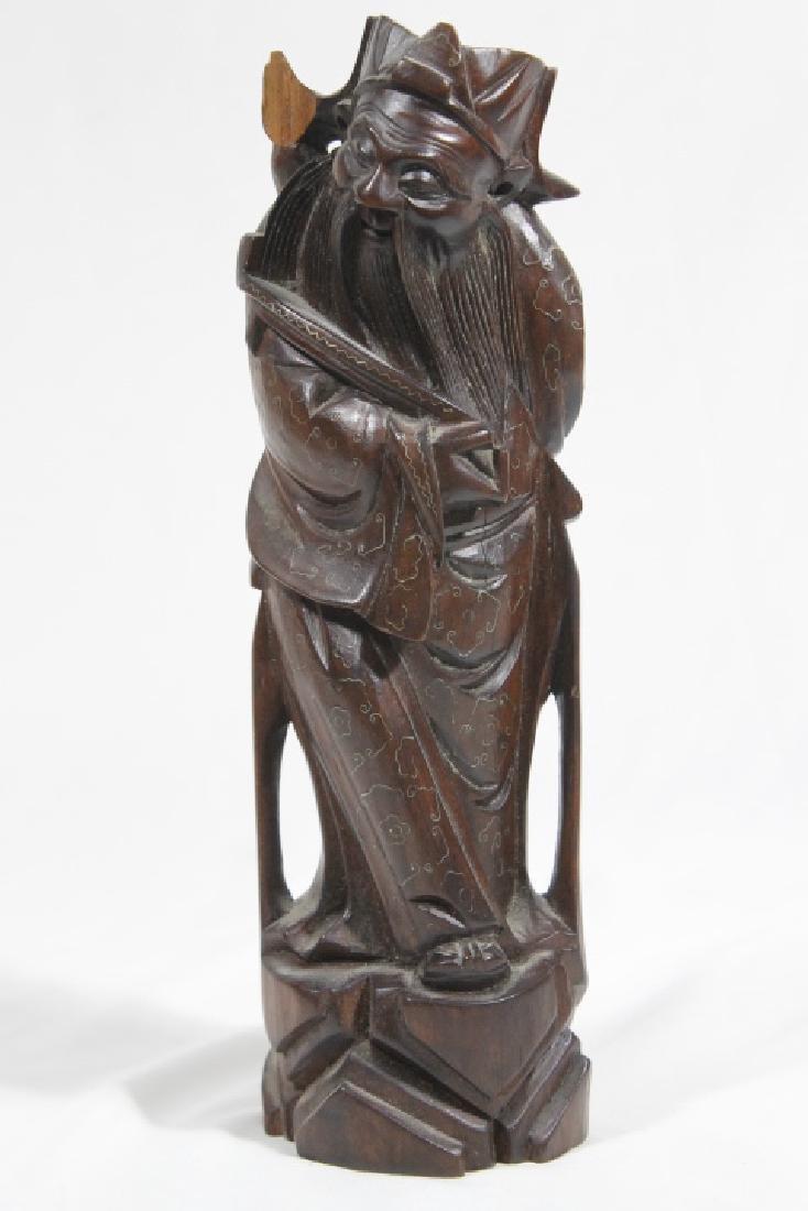 3 Asian Wood Statues - 5