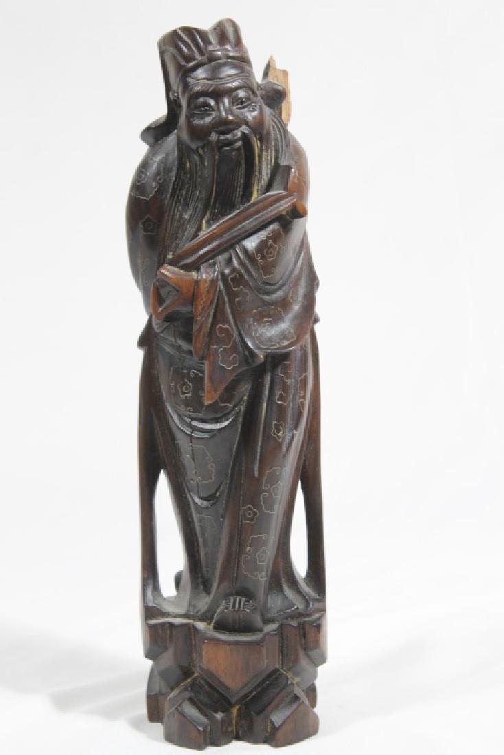 3 Asian Wood Statues - 7
