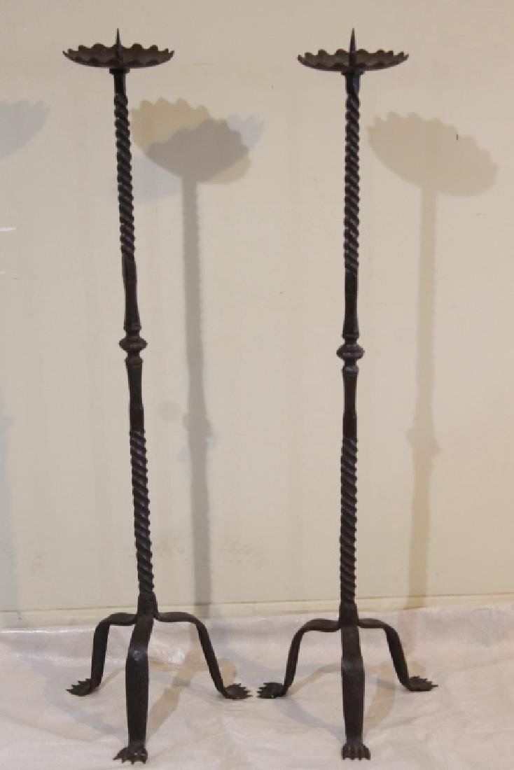 "Pr. Of 48"" tall Twisted Iron Candlesticks"