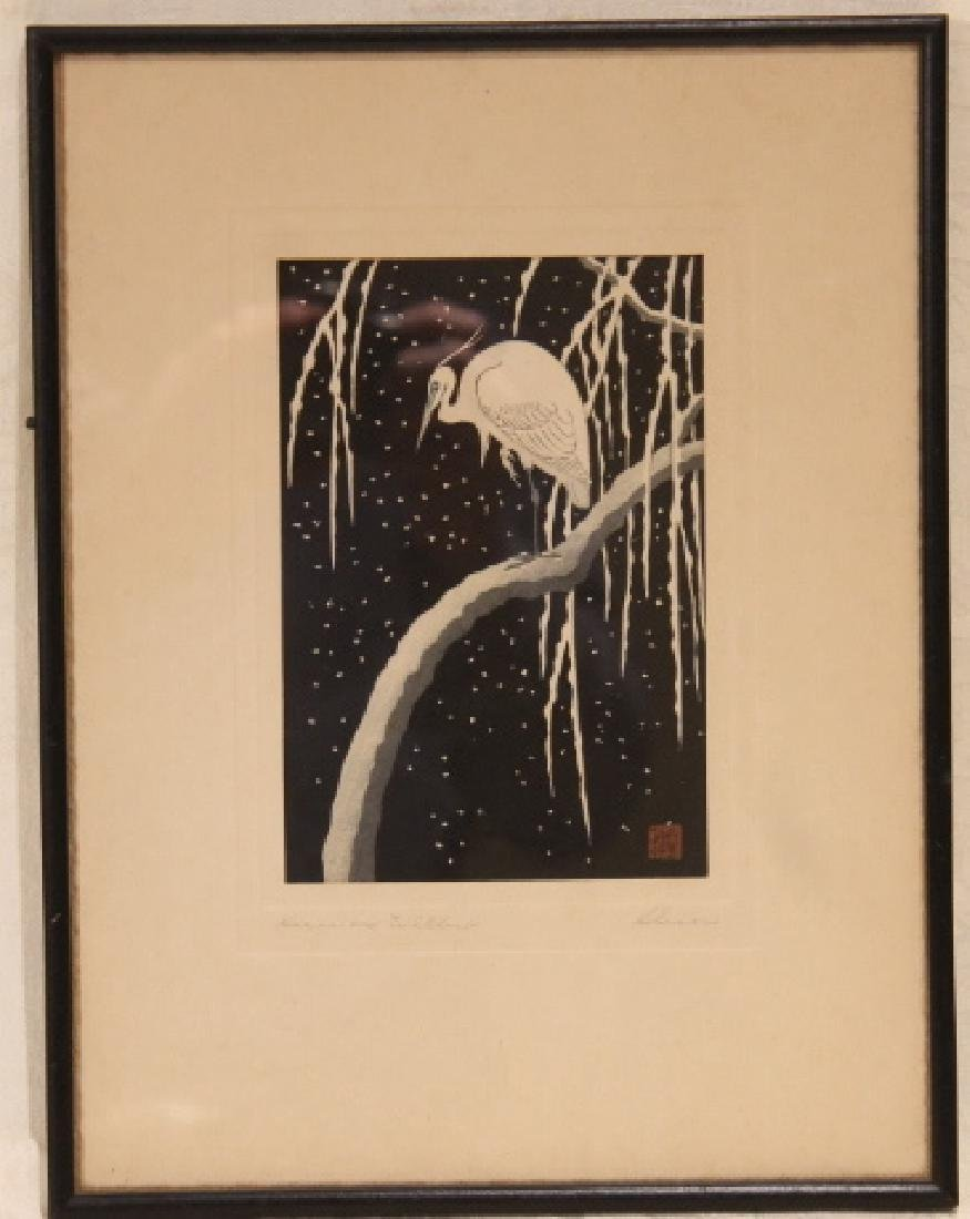 Heron On Willow, Woodblock
