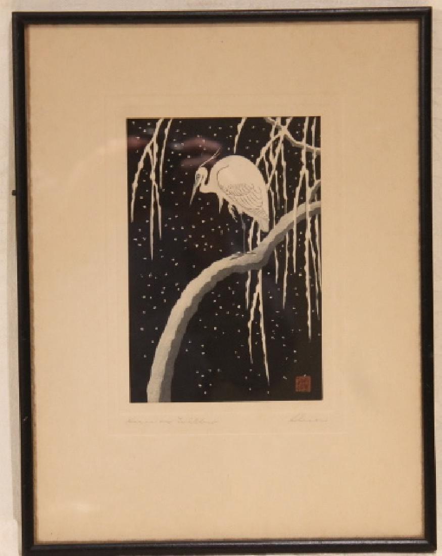 Heron On Willow, Woodblock
