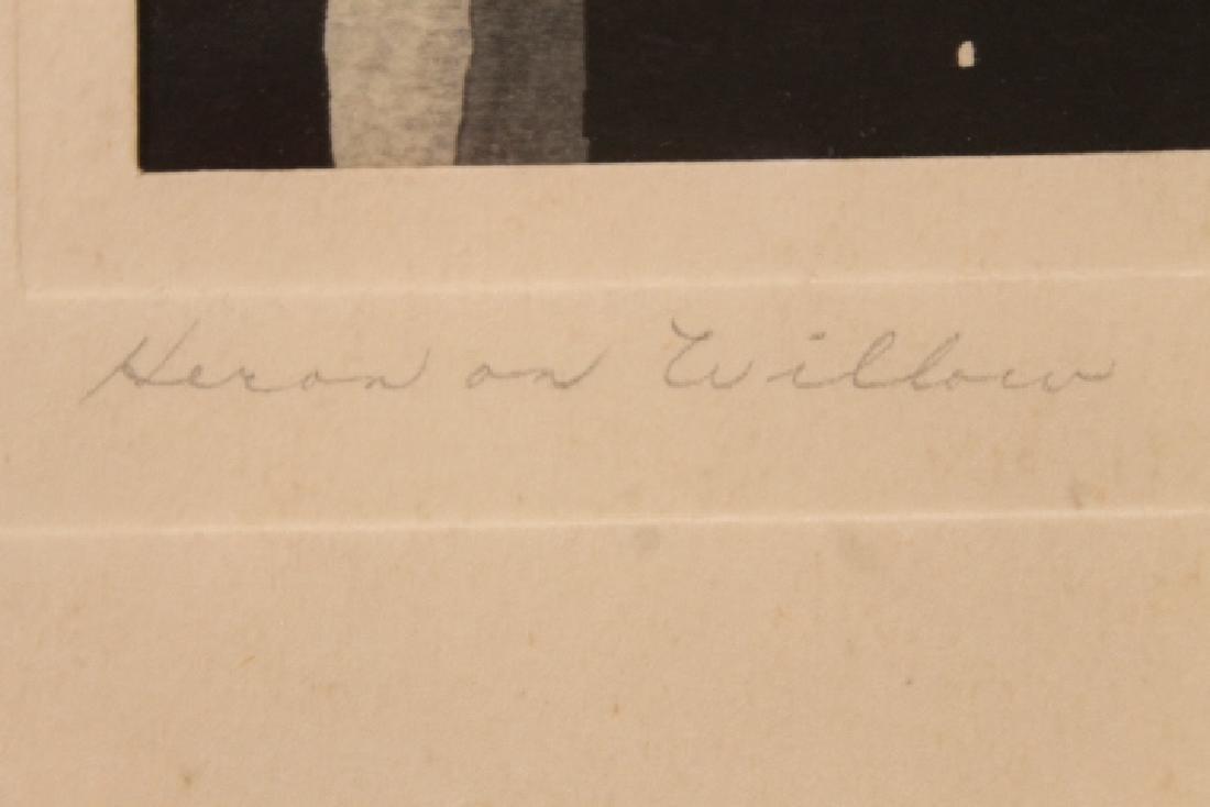 Heron On Willow, Woodblock - 3