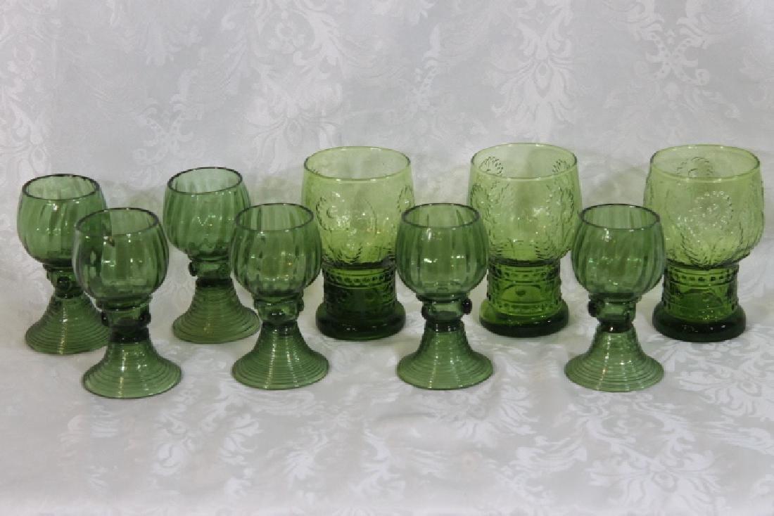 9 Green Glass Drinking Vessels
