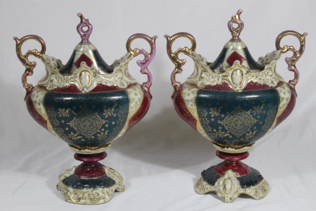 Pr.. Of Royal Vienna Covered Urns - 2