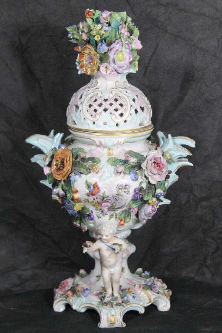European Porcelain Urn w/Cherubs