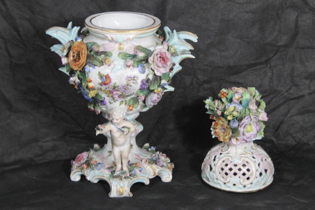 European Porcelain Urn w/Cherubs - 2