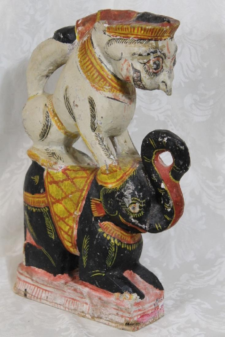 Carved Sculpture, Elephant w/Monkey