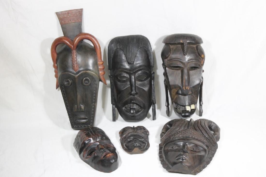 6 Wood Carved Masks