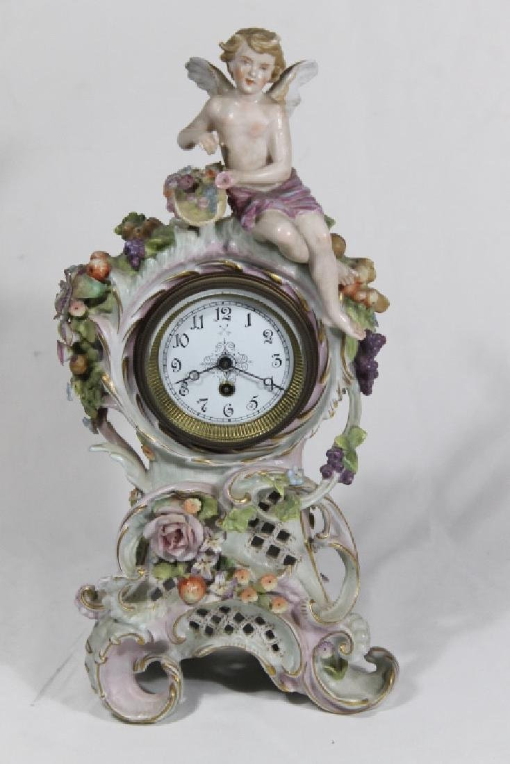 Porcelain Clock w/Cherubs