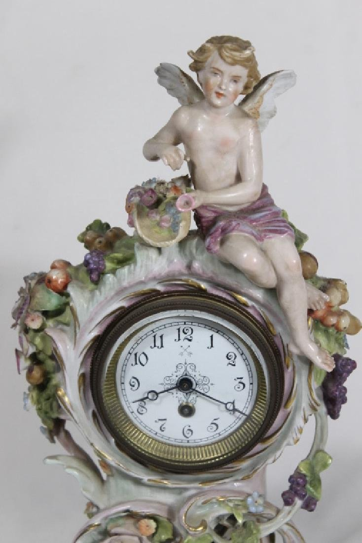 Porcelain Clock w/Cherubs - 2