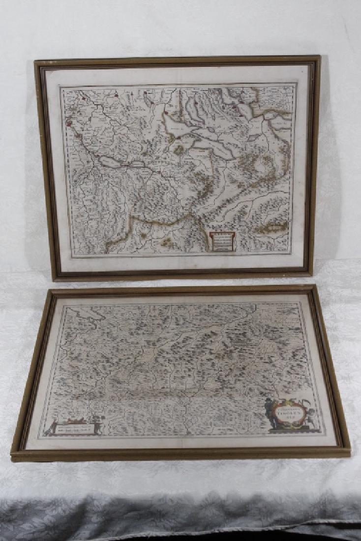 Two European Maps Framed