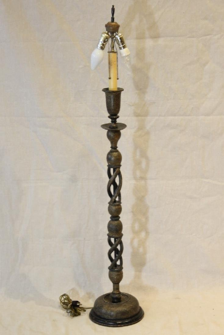 Lacquered Wood Candlestick Lamp - 4