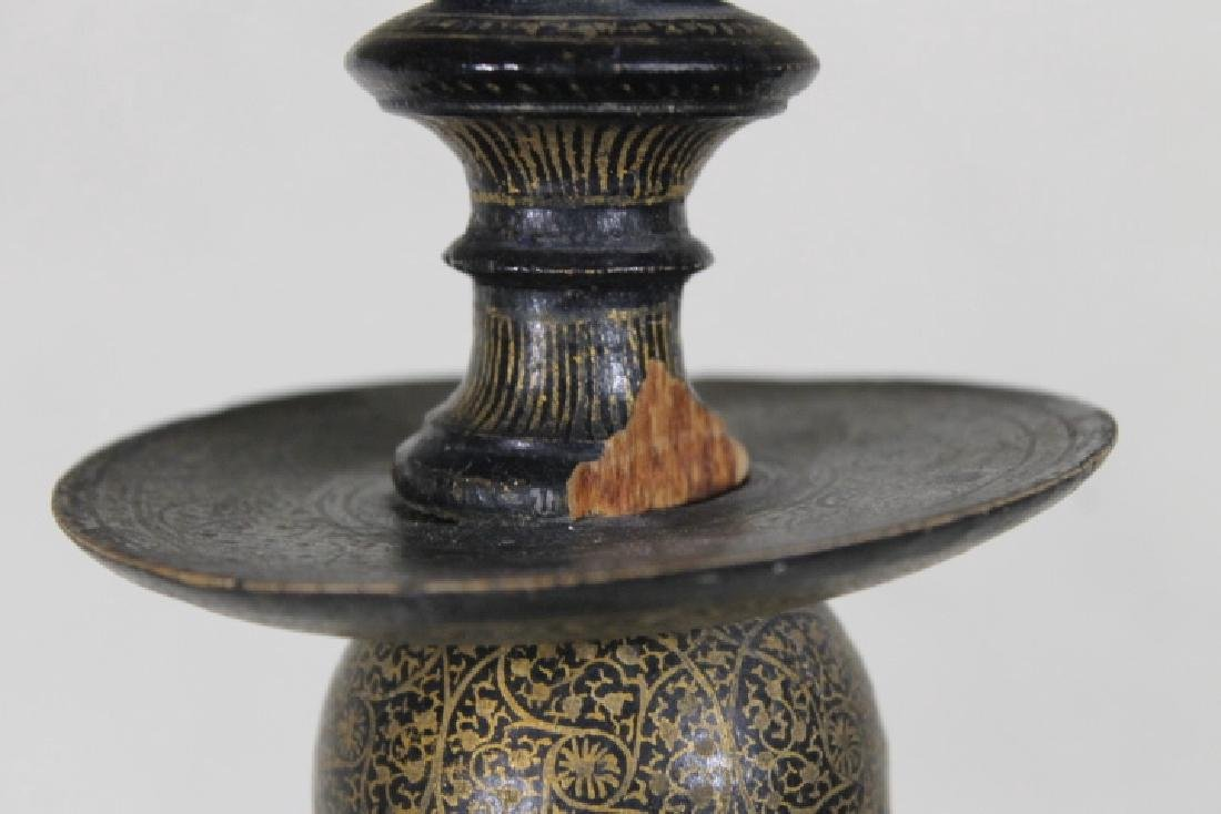 Lacquered Wood Candlestick Lamp - 5