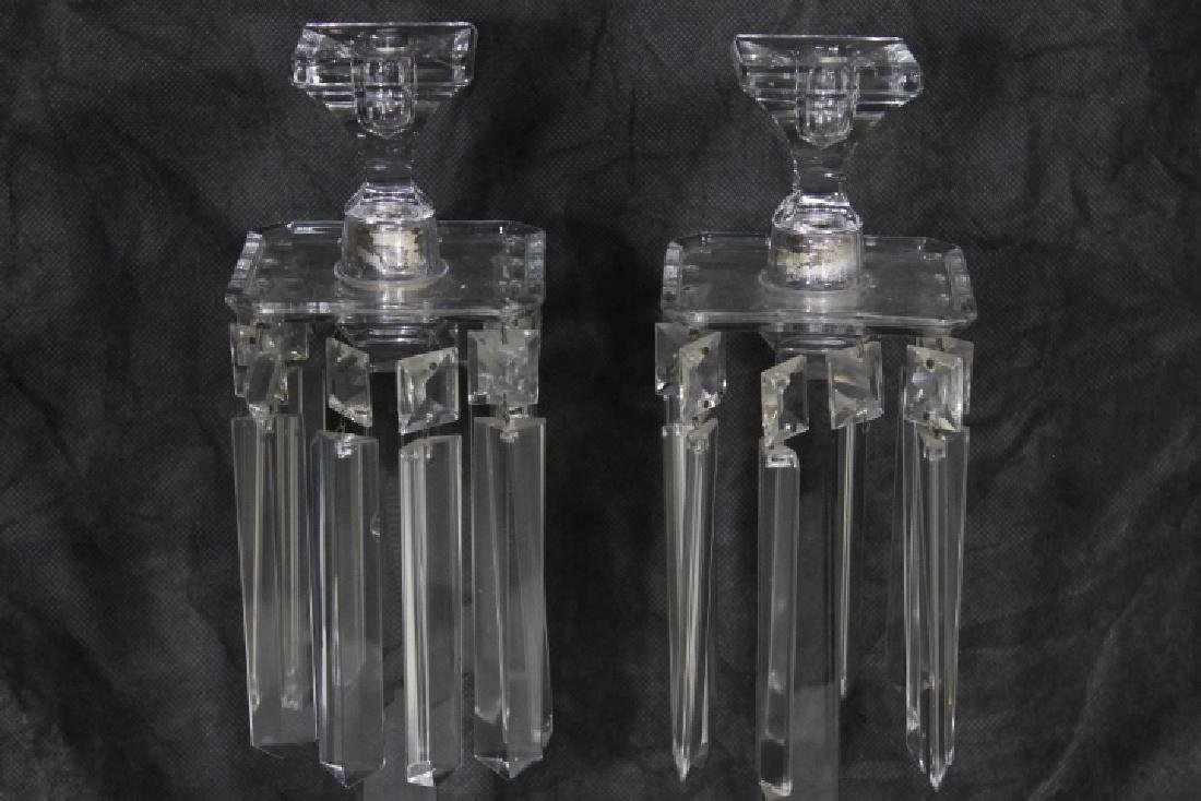 Tall Clear Glas Candlesticks w/Prisms - 2