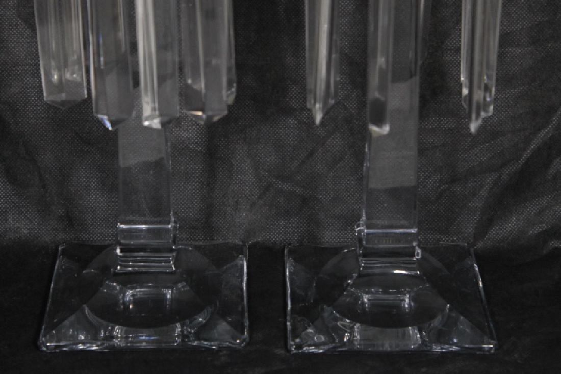 Tall Clear Glas Candlesticks w/Prisms - 3