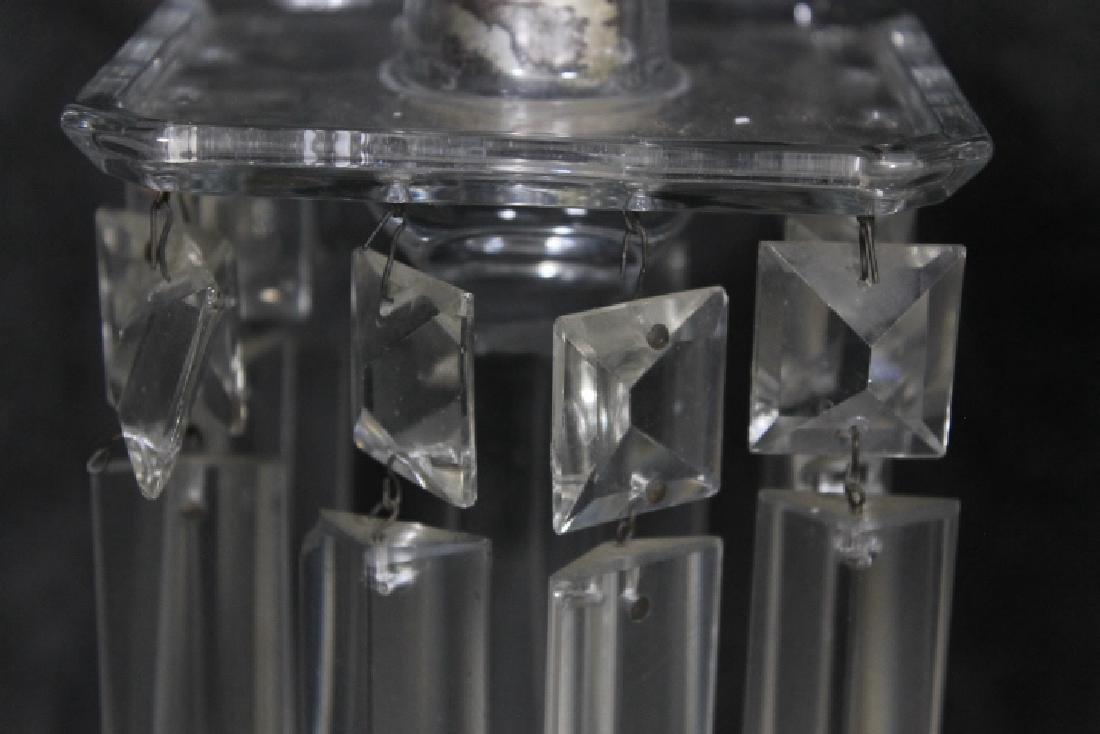 Tall Clear Glas Candlesticks w/Prisms - 4
