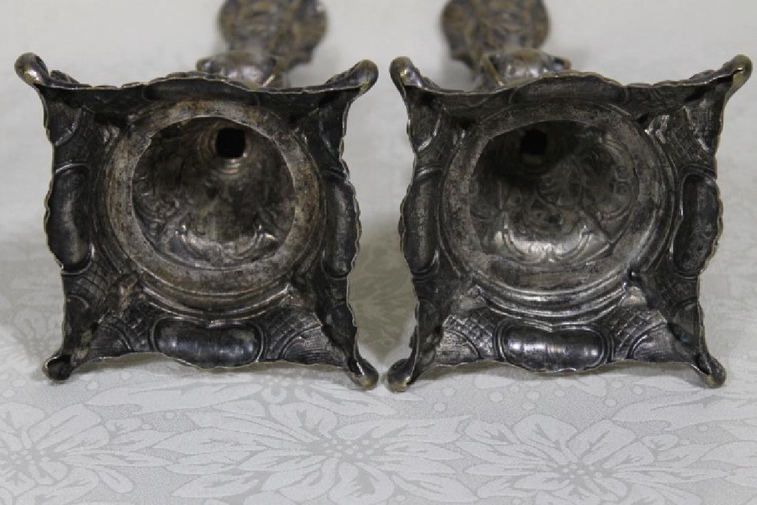 Polish Silver Plated Candlesticks - 4