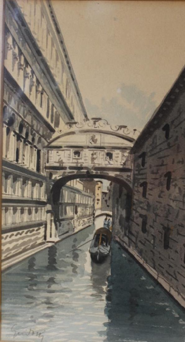 Watercolor, Venice Canal signed illegibly
