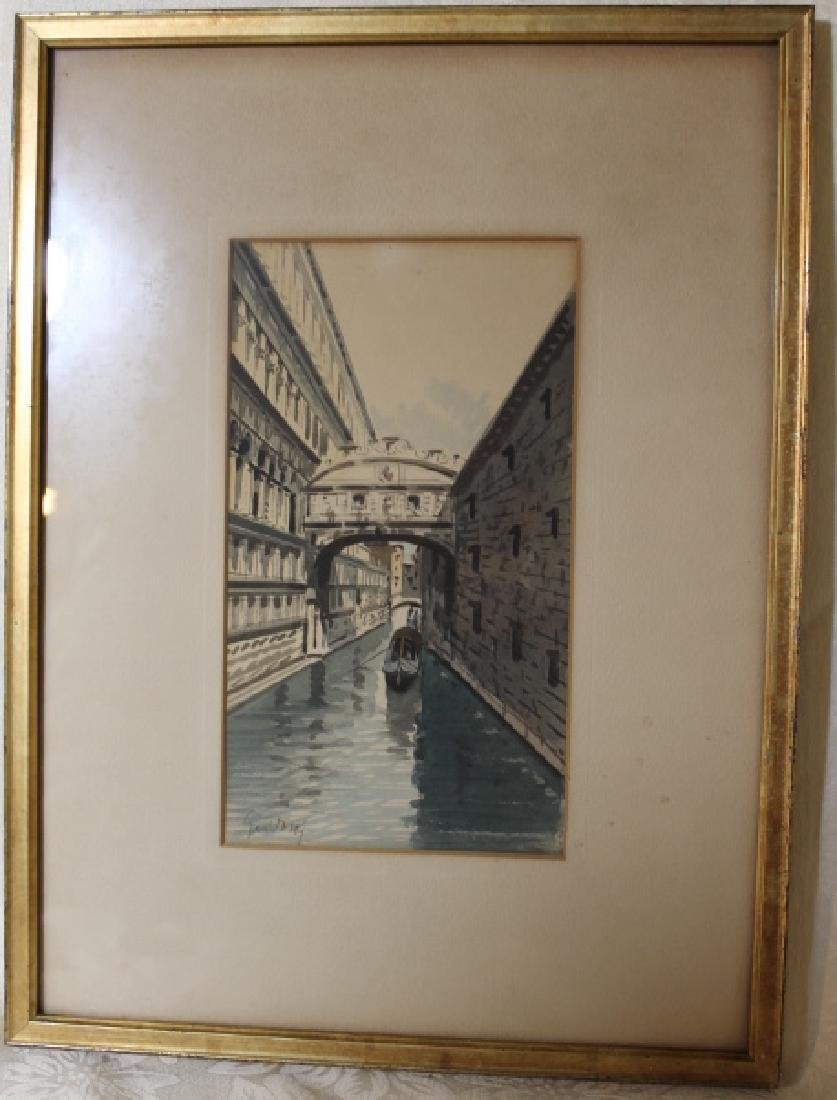 Watercolor, Venice Canal signed illegibly - 3