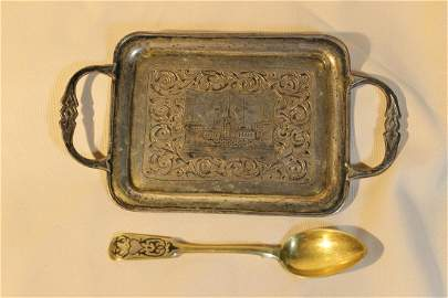 1. Small handled tray, marked and dated 1863, size is 7