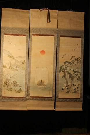 Wooden box with three Japanese hand painted scrolls,