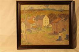 Oil on canvas, village street scene, with figures and