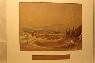 """Watercolor of Mt Ida, Turkey, inscribed """"Mt Ida,"""