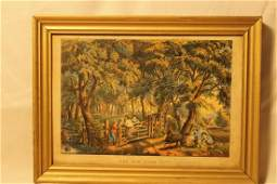 """1864 Currier & Ives hand colored litho titled """"The Old"""
