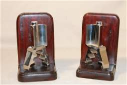 Mid Century Chrome & Wood Bookends
