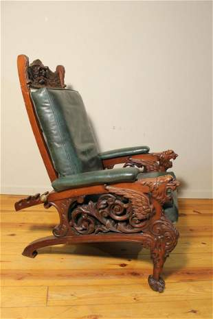 Morris Type Carved Chair