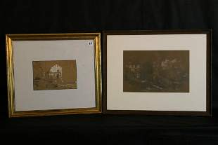 2 Signed Pencil Sketches & White Pigment, 1868