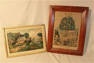 "Two Prints ""Tree of Life"" & American Homestead"