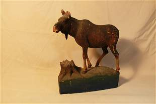 Carved Wood Bull Moose