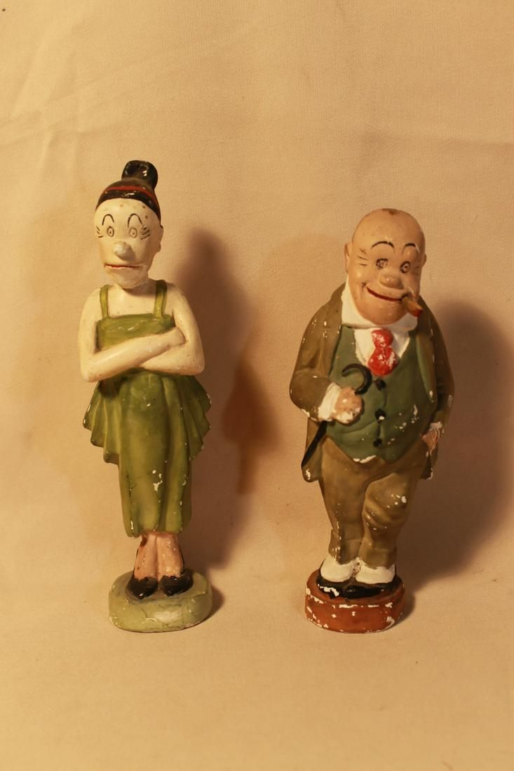 "Two Chalkware Figures, ""Jiggs & Daughter"""